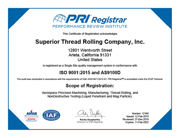 ISO 9001 & AS 9100 Rev D Certification