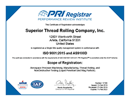 iso 9001 / as9100 certificate